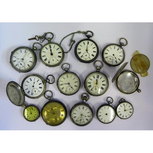 399 - Twelve Silver Pocket /Fob Watches and one other. All A/F