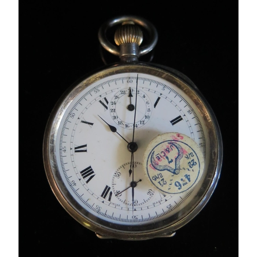 401 - A Silver Cased Open Dial Pocket Watch Chronograph with Swiss Movement, balance moves freely, but nee...