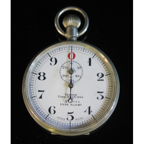 402 - A Venner Time Switches Ltd. Type No. A40 Nickel Chrome stop watch, no. 8974, c. 1950's