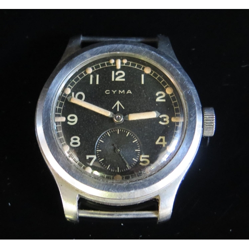 403 - A 1940's CYMA Military Wristwatch _ One of The DIRTY DOZEN _ Case back and inner back of case stampe...