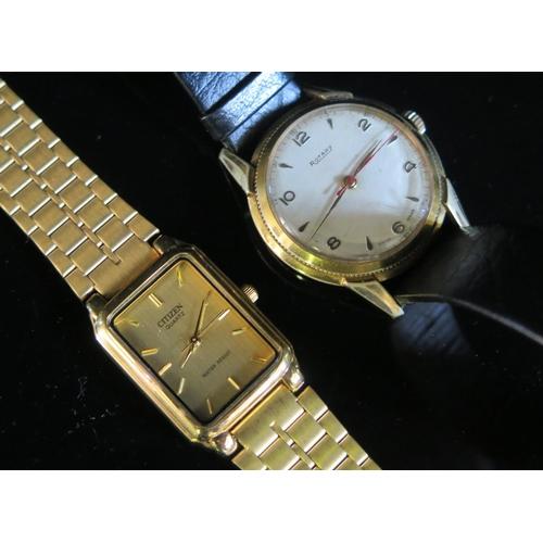 405 - A ROTARY Gent's Gold Plated Wristwatch (running) and quartz Citizen (not running)