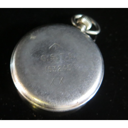408 - An Orator Military Pocket Watch, back with crows foot and stamped G.S.T.P. 153245, running but missi...