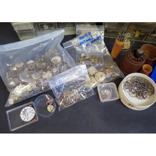 415 - A Collection of Watch Spares including vintage staking tool set