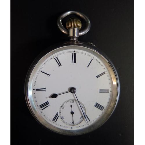 417 - An Edward VII Silver Open Dial Keyless Pocket Watch, Birmingham 1901, running