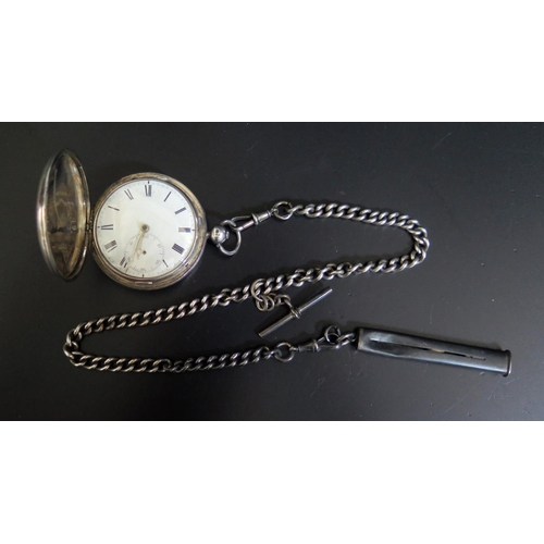 419 - A Silver Hunter Cased Pocket Watch by Rovas with chain driven fusee movement  and silver Albert with...