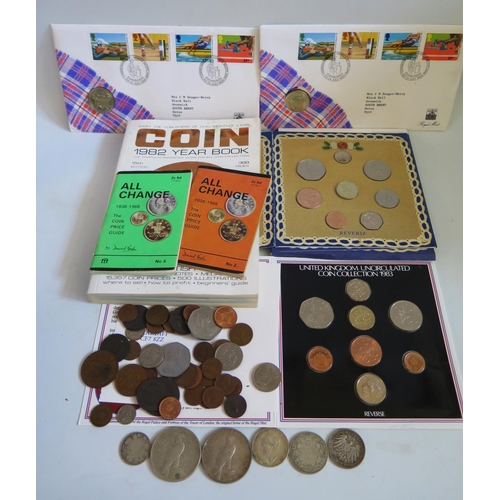 456 - A Collection of Coins including 1983 and 1990 UK Uncirculated Coin Packs, two USA 1922 dollar coins ...