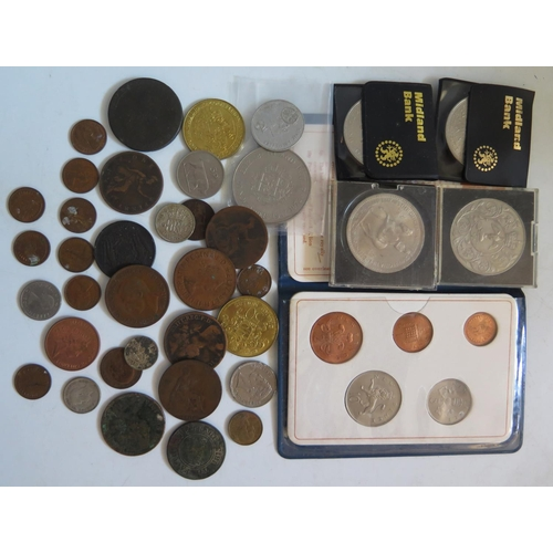 461 - A Selection of Georgian and later Coins including commemorative crowns