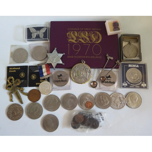 462 - A Selection of Coins including 1970 Year Pack, commemorative crowns, hammered silver etc.
