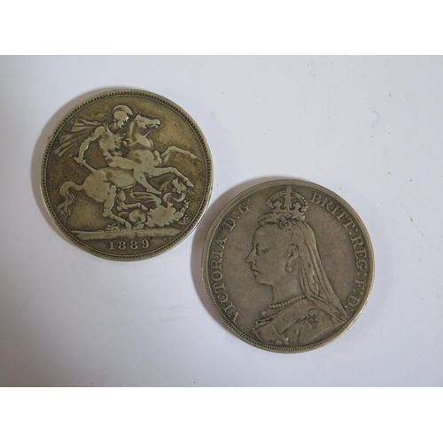 467 - Two Victorian Silver Crowns 1889 & 1890