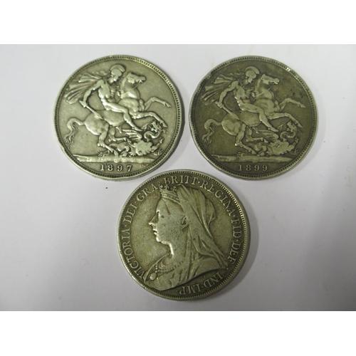 469 - Three Victorian Silver Crowns 1897, 1899 & 1900