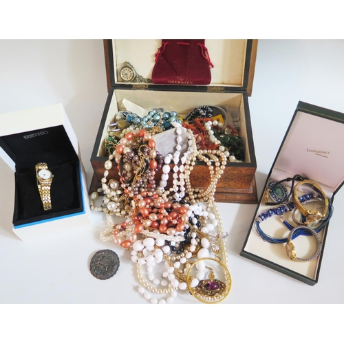 47 - A Box of Costume Jewellery and wristwatches...