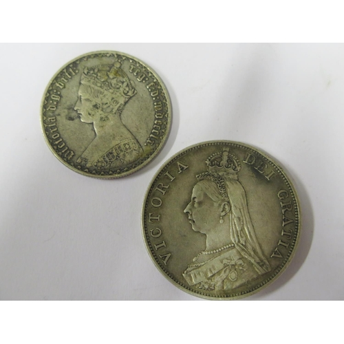 471 - Two Victorian Silver Coins: 1890 Double Florin and Florin