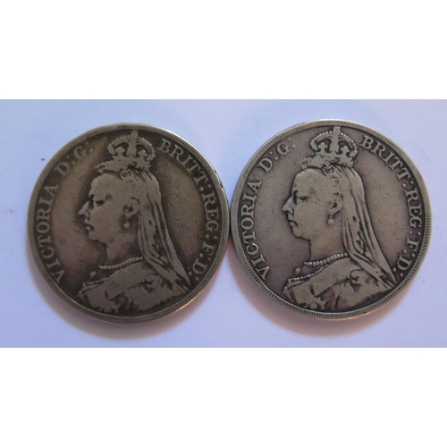 475 - Two Victorian Silver Crowns 1889 & 1892