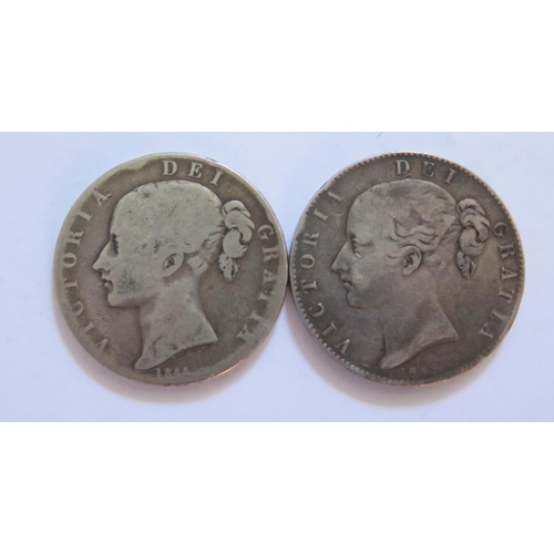 476 - Two Victorian Silver Crowns 1844 & 1845