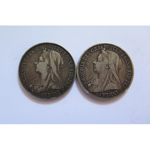 478 - Two Victorian Silver Crowns 1893 & 1895