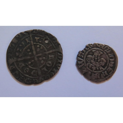 488 - An Edward II Groat (drilled) and Edward III Hammered Silver Penny