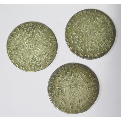491 - Three George III Silver 1787 Shillings