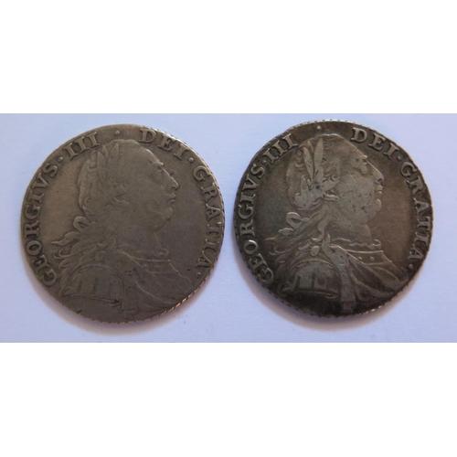 492 - Two George III Silver 1787 Shillings