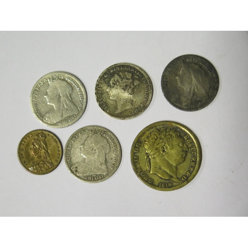 495 - A George III Lauer Toy Sovereign, Victorian silver 3d coins etc.