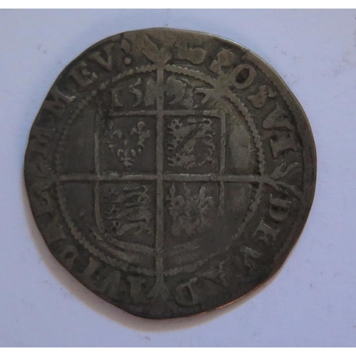 497 - An Elizabeth I Hammered Silver Sixpence 1587