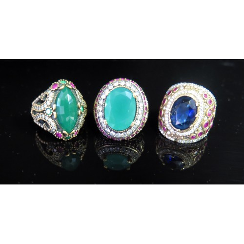 1a - Three Silver Costume Rings...
