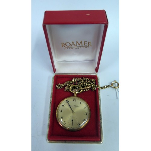 353 - A Boxed Roamer Gold Plated Pocket Watch on chain, running...