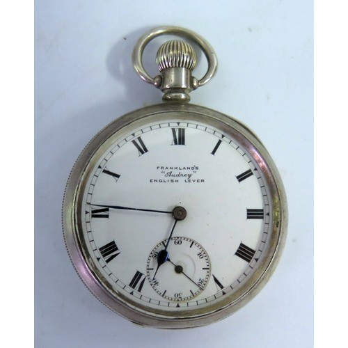354 - A Silver Cased FRANKLAND'S 'Audrey' English Lever Keyless open Dial Pocket Watch, Birmingham 1920, r...