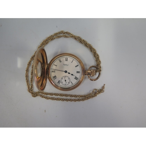 360 - A Waltham Gold Plated Half Hunter Pocket Watch and chain. A/F...