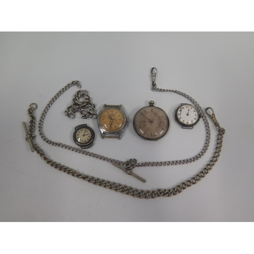 362 - Silver and other Watches including Longines. A/F and chains...