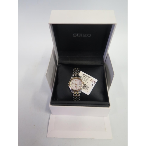 385A - A Boxed Ladies Seiko Wristwatch with mother of pearl and diamond set dial. Needs battery, not tested...