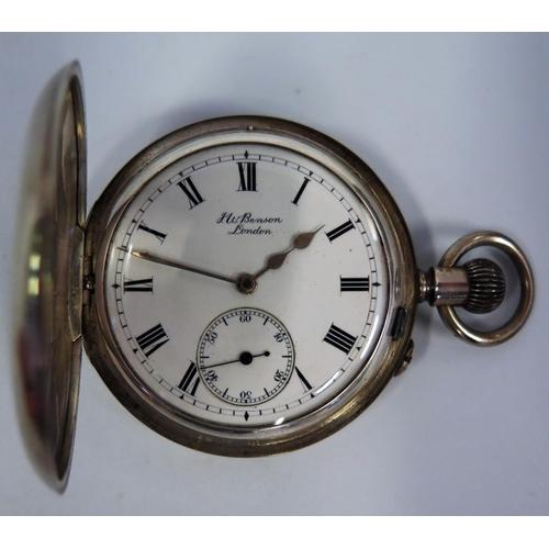412 - A Silver Cased Half Hunter THE BANK Benson Pocket Watch, London 1913 (balance wheel damaged)