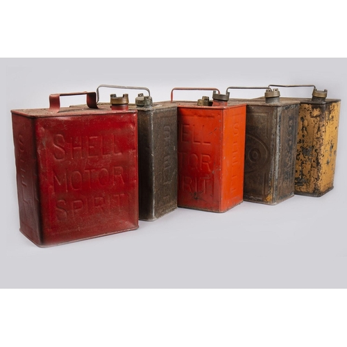 13 - FIVE ESSO AND SHELL PETROL CANS...