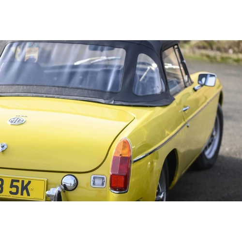 2 - 1972 MGB ROADSTER COUPE MOTOR CAR, Registration PSB 5K, 1798cc, petrol, colour yellow This vehicle h...