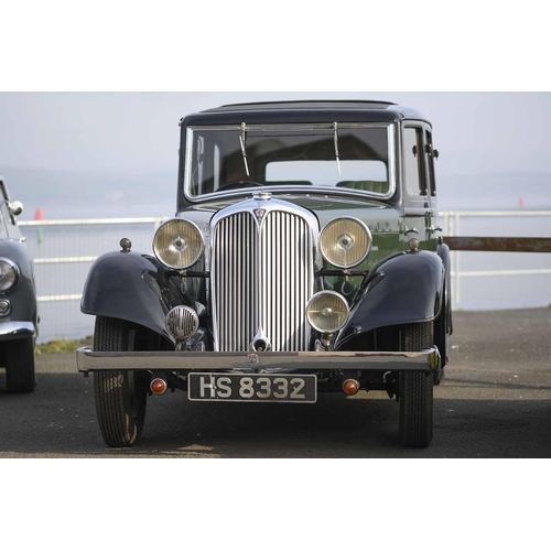 5 - 1935 ROVER 12 SALOON MOTOR CAR, Registration HS 8332, 1465cc, petrol, colour green with black wings ...