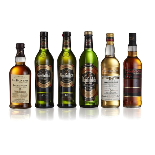 8 - THREE BOTTLES OF GLENFIDDICH <br> <br>comprising TWO 12 YEAR OLD, with cartons, 40%; a PURE MALT, in...