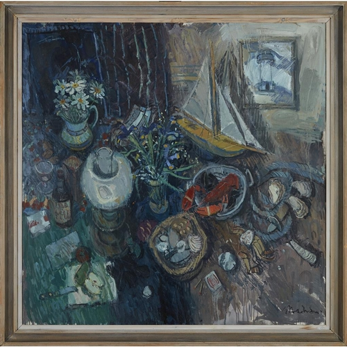 11 - [§] DONALD MANSON (SCOTTISH B.1948)<br><br>STILL LIFE ON A SCOTS ISLE <br><br>c.1988, signed, oil on...