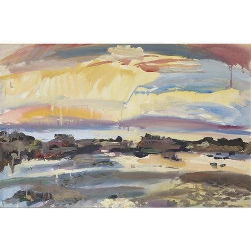 15 - [§] SHONA BARR (SCOTTISH B.1965)<br><br>SUNSET, CULZEAN <br><br>Signed, gouache<br><br>56cm x 85cm (...