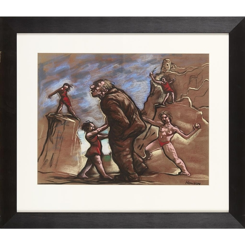 20 - [§] PETER HOWSON (SCOTTISH B.1958)<br><br>TEMPTATION <br><br>Pastel, signed<br><br>46cm x 59cm (18in...
