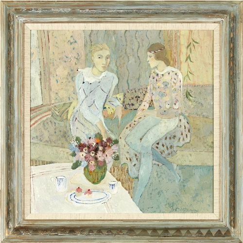 34 - [§] BRENDA LENAGHAN R.S.W. (SCOTTISH B.1941)<br><br>CLOWN AND GIRL <br><br>Signed, oil on board<br><...