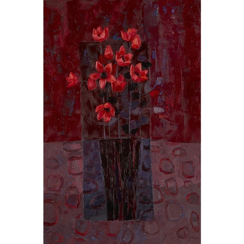 35 - [§] KIRSTY WITHER (BRITISH B.1968)<br><br>STILL LIFE ON A RED GROUND <br><br>Signed and dated 2004, ...