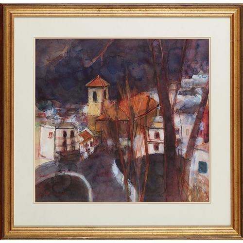 42 - [§] ANN ORAM R.S.W. (SCOTTISH B.1956)<br><br>TUSCAN HILL TOWN <br><br>Signed and dated '90, watercol...