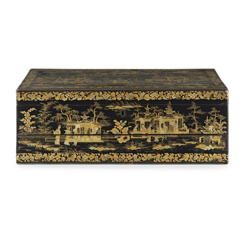 1 - CANTON LACQUER LAP DESK<br><br>QING DYNASTY, 19TH CENTURY <br><br>the exterior finely lacquered with...