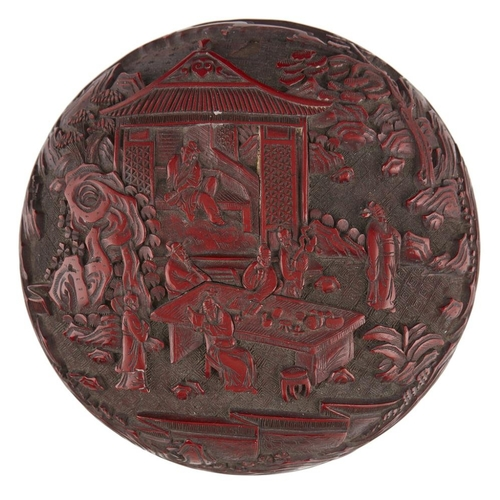 11 - PAIR OF CINNABAR LACQUER CIRCULAR BOXES<br><br>QING DYNASTY, 18TH/19TH CENTURY <br><br>the cover car...