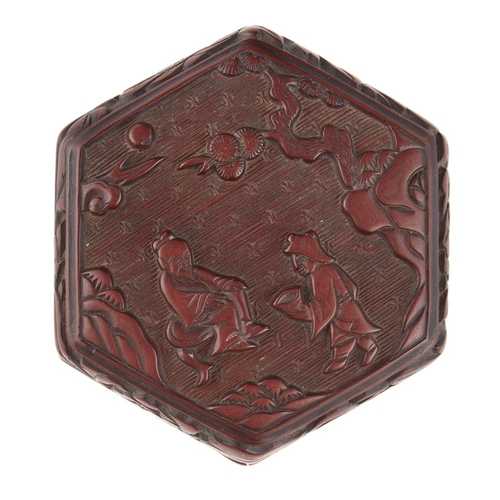 15 - SMALL CARVED CINNABAR LACQUER HEXAGONAL BOX<br><br>POSSIBLY MING DYNASTY <br><br>the top of the cove...