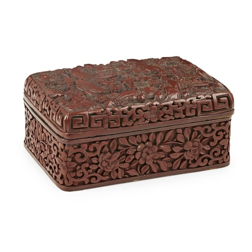 17 - CINNABAR LACQUER RECTANGULAR BOX AND COVER<br><br>LATE QING DYNASTY/REPUBLIC PERIOD <br><br>the cove...