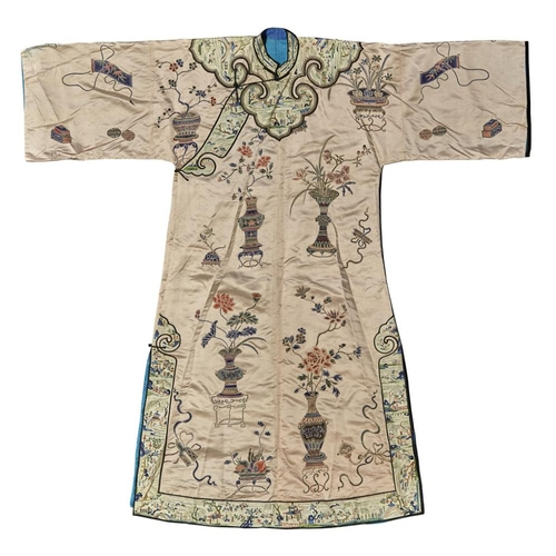18 - EMBROIDERED SILK LADY'S ROBE<br><br>QING DYNASTY, 19TH CENTURY <br><br>the pink silk ground embroide...