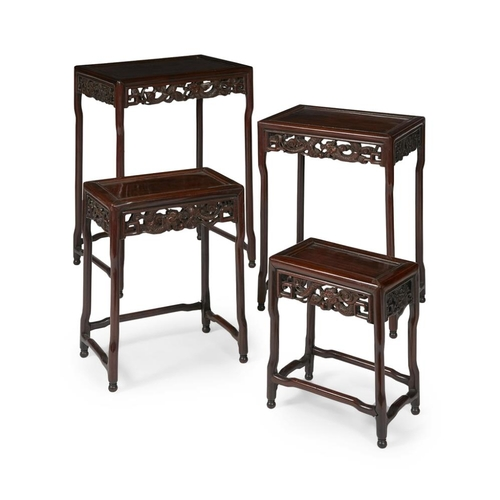 2 - NEST OF FOUR HARDWOOD TABLES<br><br>LATE QING DYNASTY <br><br>each with a rectangular top with inset...