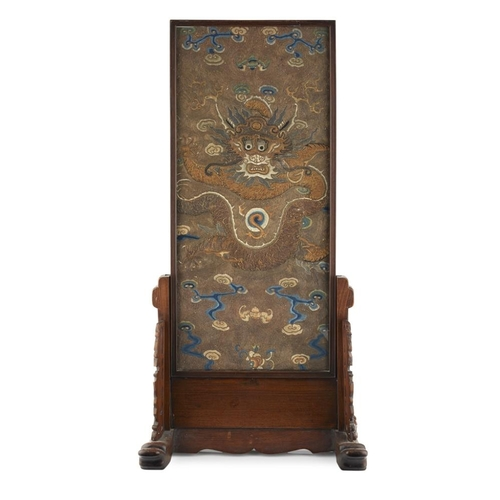 22 - TABLE SCREEN WITH INSET EMBROIDERED 'DRAGON' PANEL<br><br>QING DYNASTY, 19TH CENTURY <br><br>the rec...
