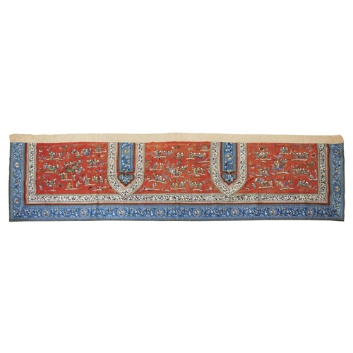 24 - EMBROIDERED SILK 'HUNDRED BOYS' BANNER<br><br>QING DYNASTY, 19TH CENTURY <br><br>brightly embroidere...