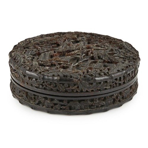 25 - CARVED TORTOISESHELL CIRCULAR BOX AND COVER<br><br>QING DYNASTY, 19TH CENTURY <br><br>the cover deep...